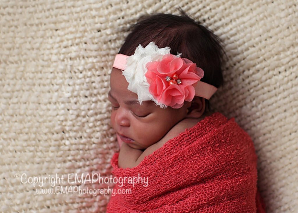 Camilla- Ivory and Coral Headband