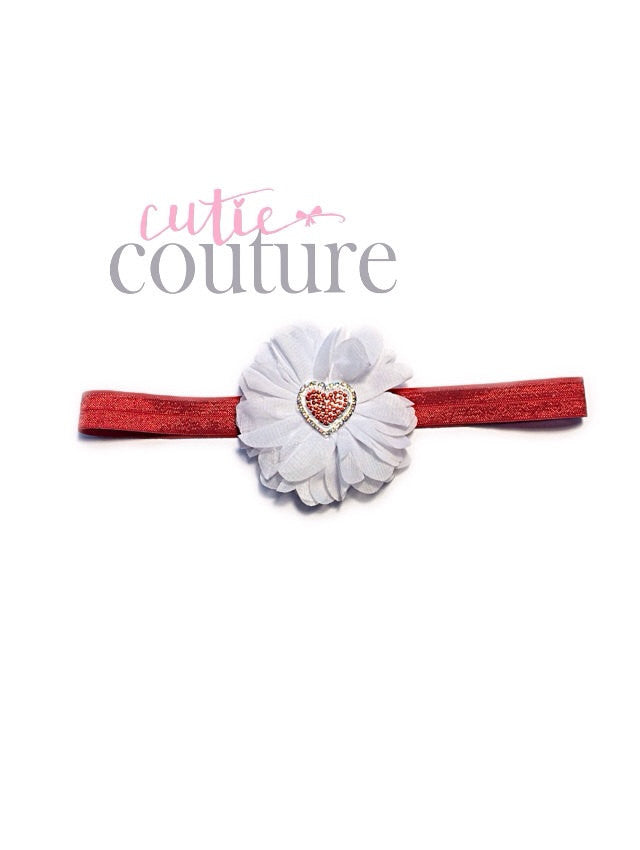 Luciana- White and Red Heart Headband