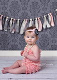 Vivienne- Pink, Black and Gray headband