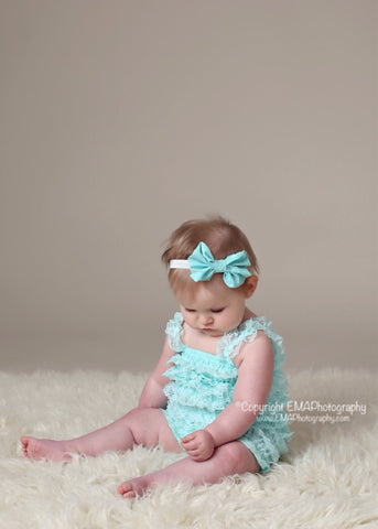 Bonnie- Aqua Bow Headband or Clip (other colors available)