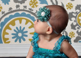 Luciana- Green and Silver Polka Dot Headband