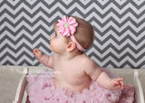 Penelope- Pink Flower on pink and gold polka dot headband
