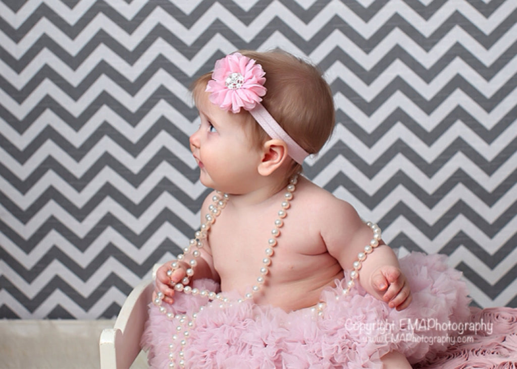 Luciana- Pink Headband with white flower stone