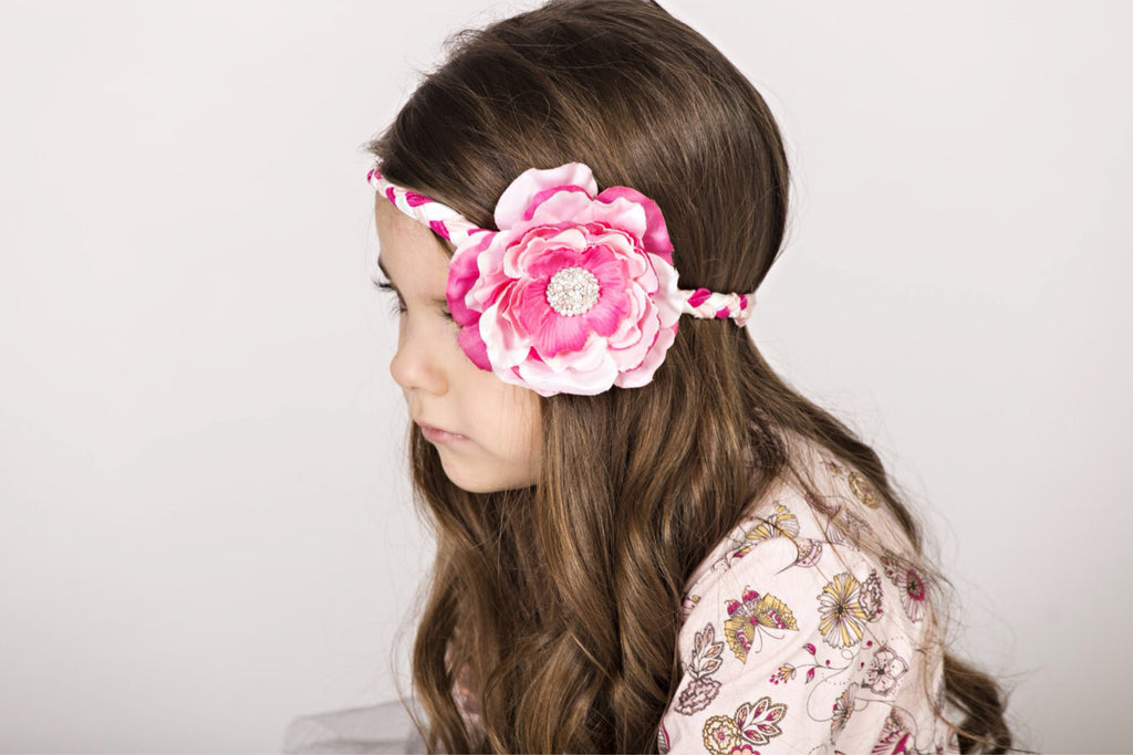 Samantha- Pink, Hot Pink and White Flower on braided headband
