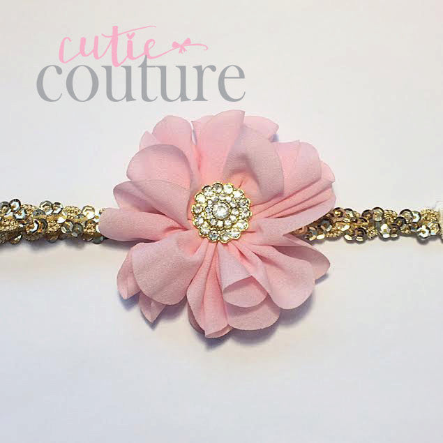 Penelope- Pink flower on a gold sequin headband