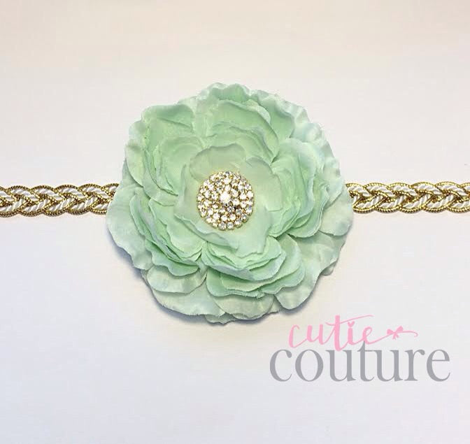 Samantha- Mint Flower on a gold braided headband