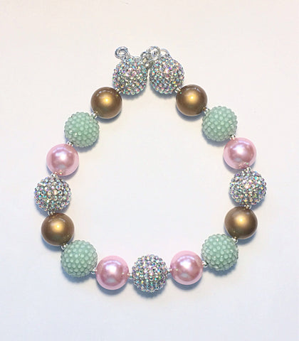 Bubblegum Necklace- Pink, Mint and Gold