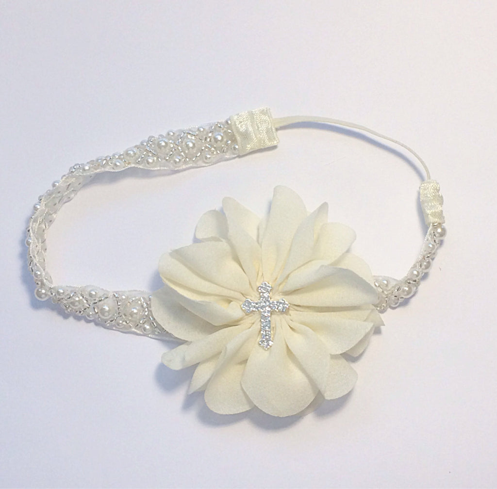 Penelope- Ivory Flower with cross on Pearl and Beaded Headband
