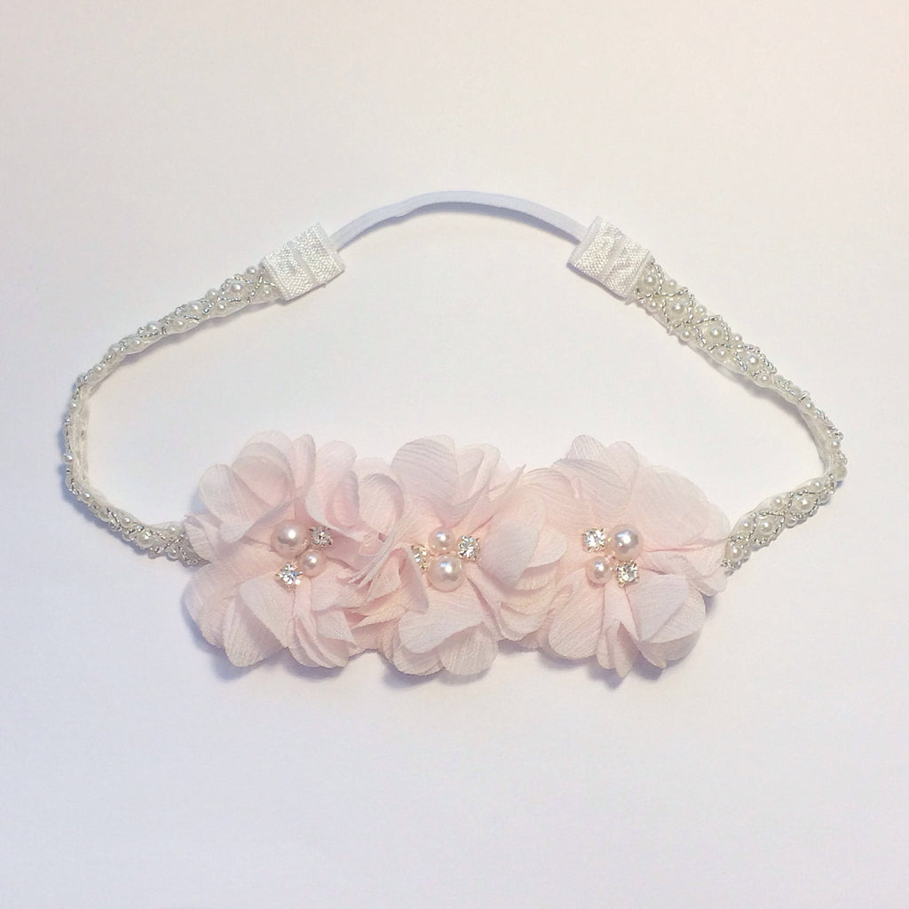 Carmella- Pink flowers on Pearl and Beaded Headband