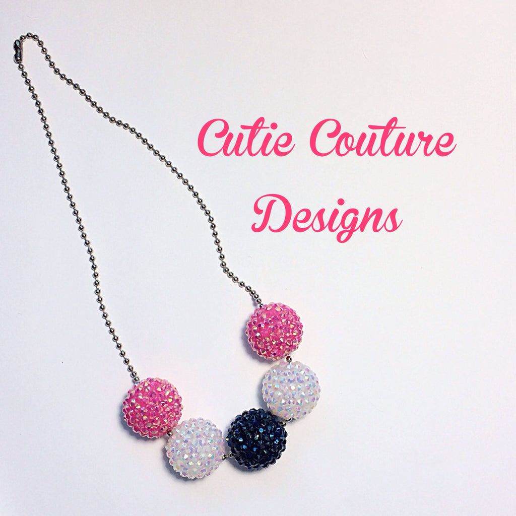 Mia Necklace- Pink, White and Navy Bubblegum Necklace