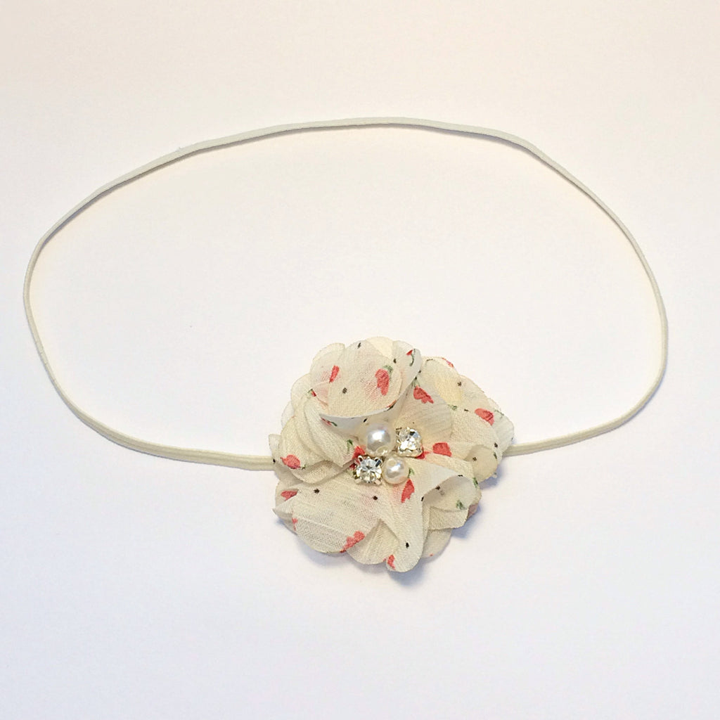 Cammie- Ivory Floral headband or clip