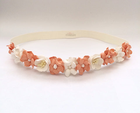 Floral Crown Headband- Peach and Cream