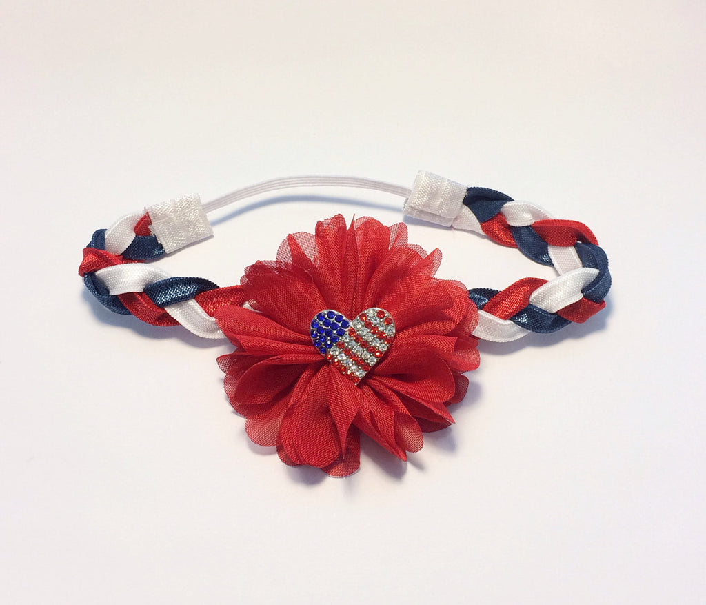 "Red, White, or Blue ""Luciana""  flag heart Headband"