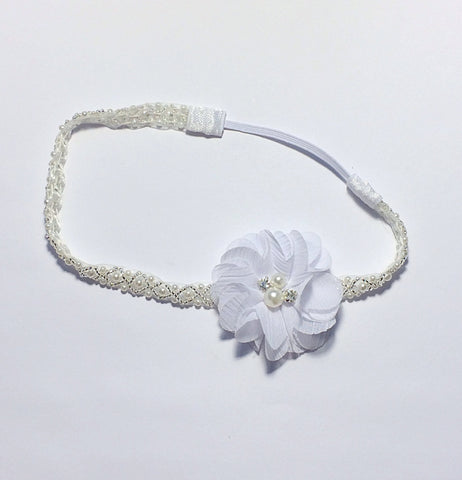 Cammie- White flower on Pearl and Beaded headband