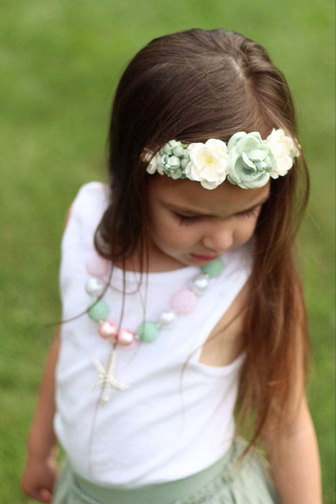 Victoria Floral Crown Headband- Sage and Cream