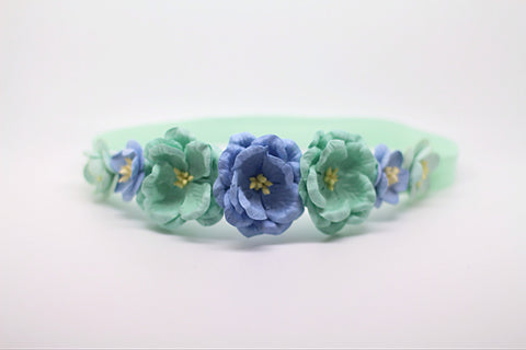 Aubrey- Blue and Mint Floral Crown