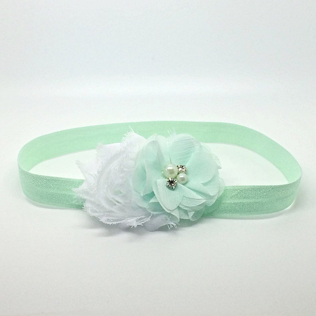 Camilla- White and Mint Headband
