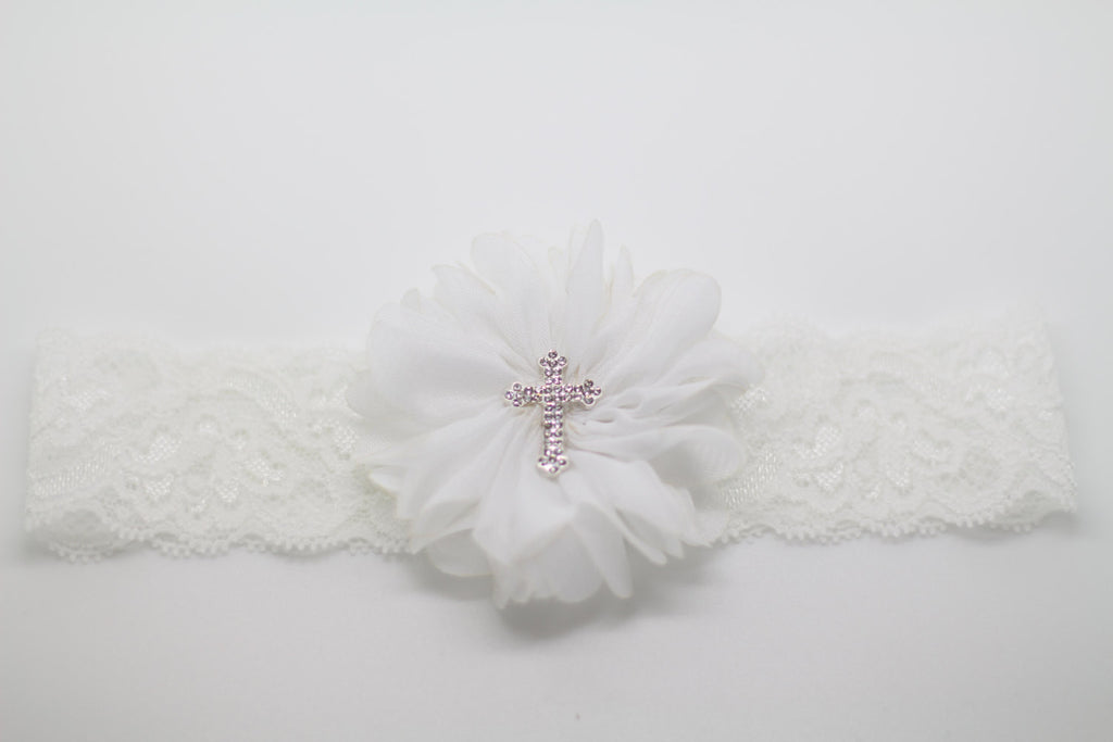 Luciana- White Baptism/Communion Headband