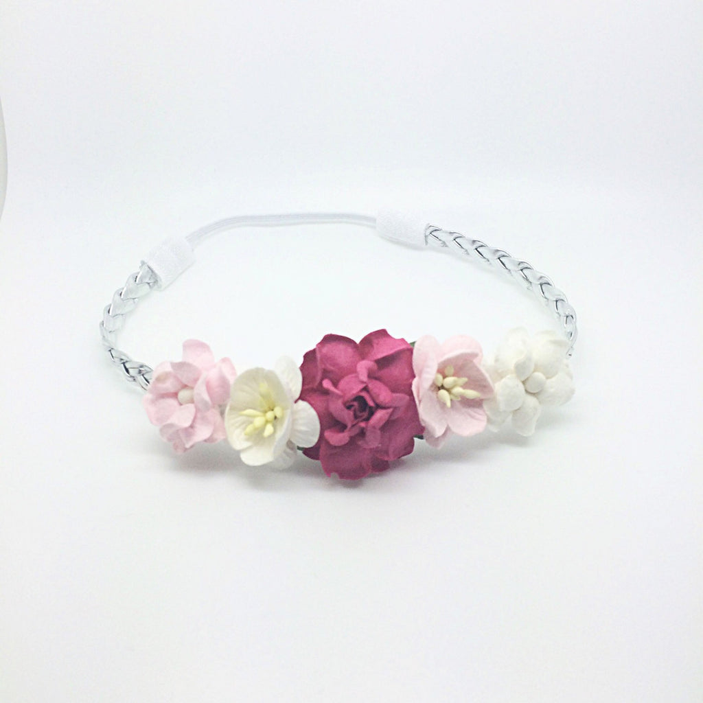 Valentina-  Hot Pink, ivory, and Pink Headband on Silver Braid