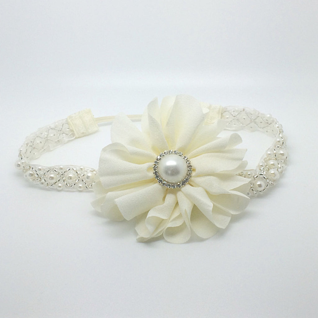 Penelope- Ivory Baptism/Communion/Flower Girl Headband