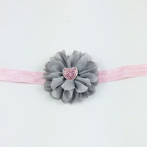 Luciana- Gray and Pink Headband