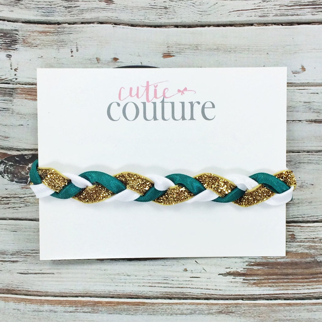 Brandi- Green, Gold and White Braided Headband