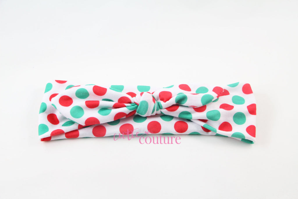 Karen- Red and Green Polka Dot Knotted Headband