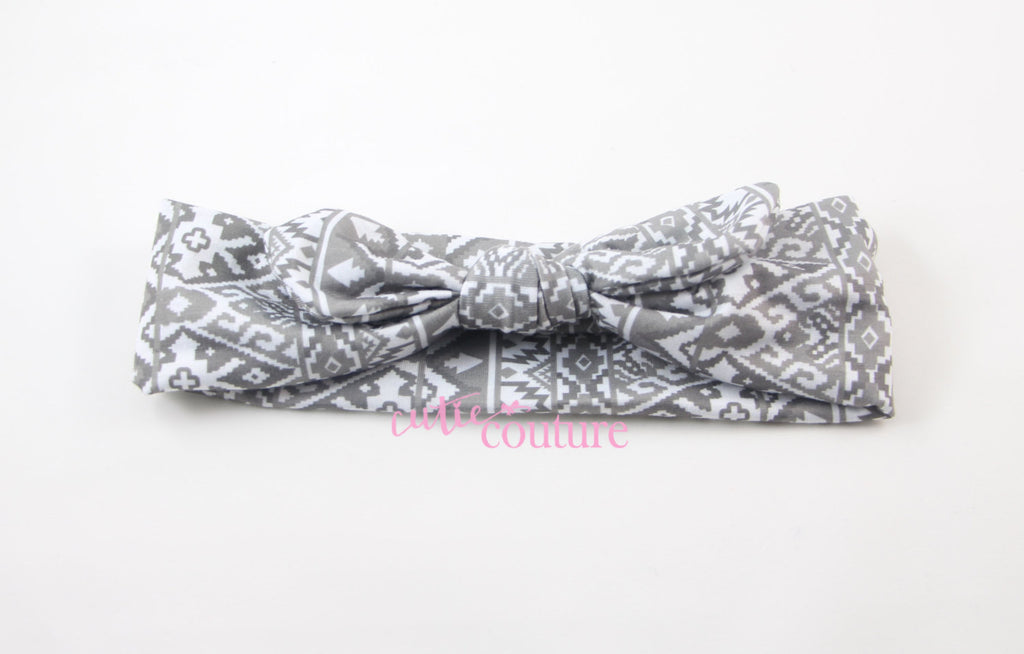 Karen- Gray Aztec Knotted Headband