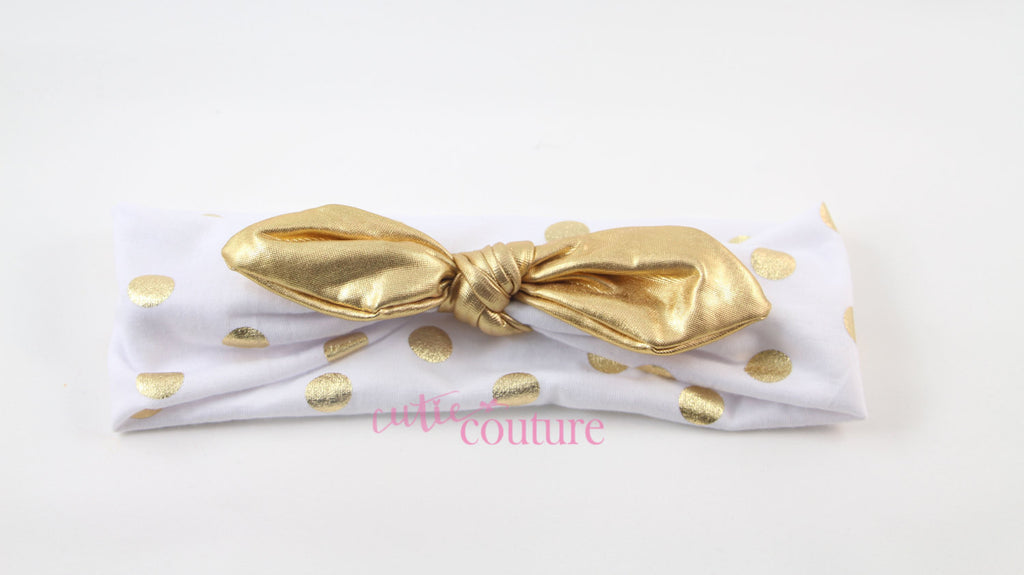 Karen- White and Gold Knotted Headband