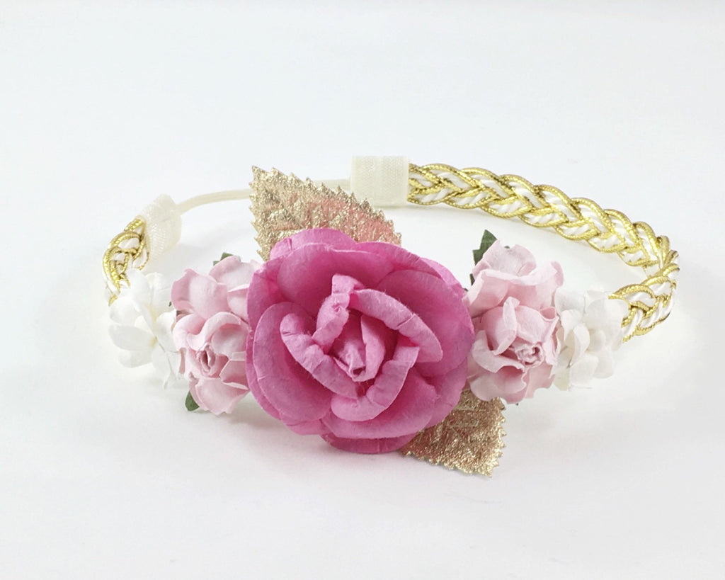 Valentina-Hot Pink, Pink, Gold and White Headband