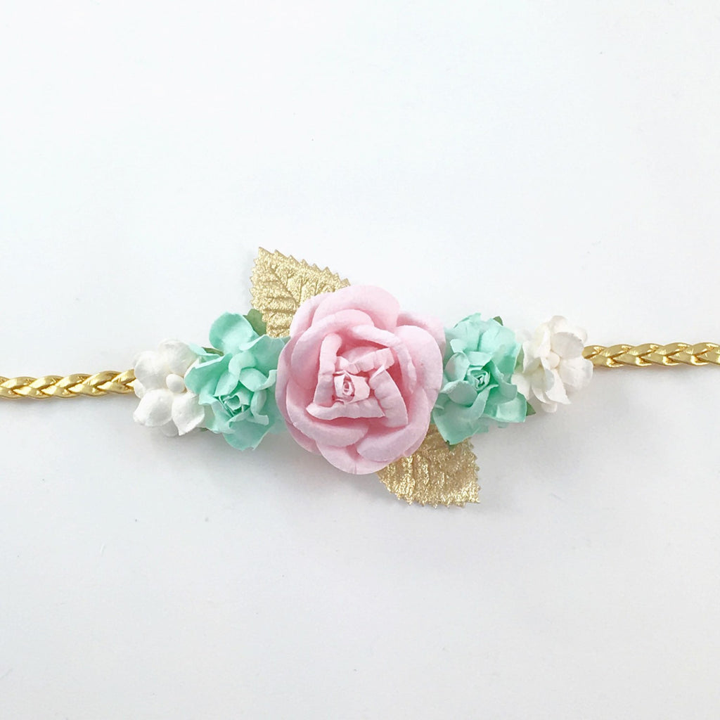 Valentina- Mint, Pink, White, and Gold Headband