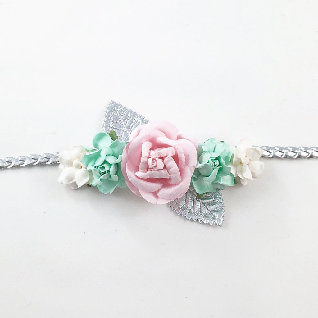 Valentina- Mint, Pink, White and Silver Headband