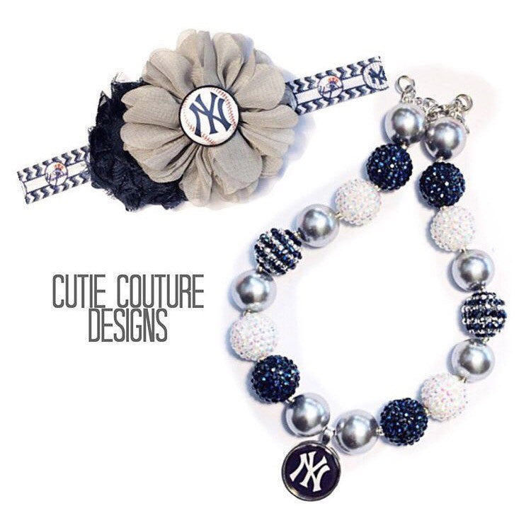 NY Yankees Necklace and Headband Set