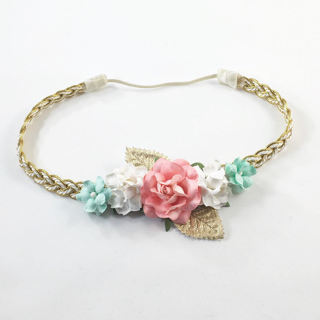 Valentina- Coral, Cream, Mint and Gold Headband