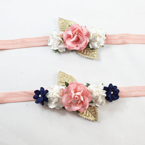 Mommy and Me- Coral, Cream and Navy Headband