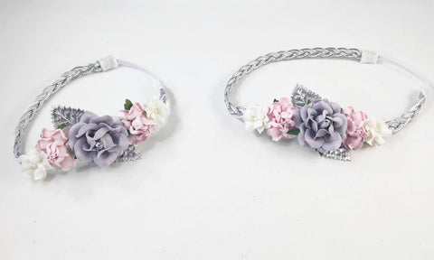 Mommy and Me- Gray, Pink and Cream flowers on Silver Braided Headband