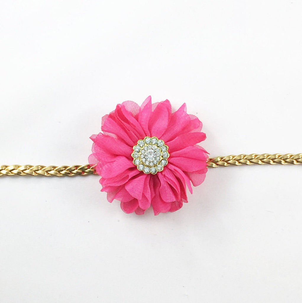 Luciana- Hot Pink and Gold Headband