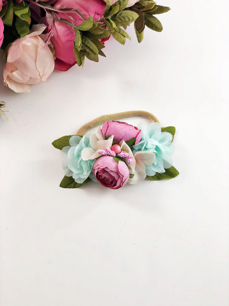 Francesca - pink and mint flower Headband
