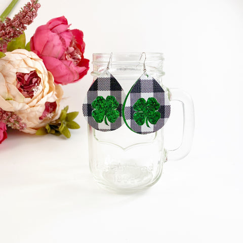 Plaid Shamrock Earrings