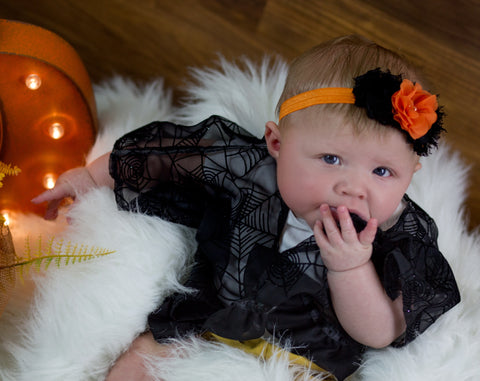 Brianna- Orange and Black Headband
