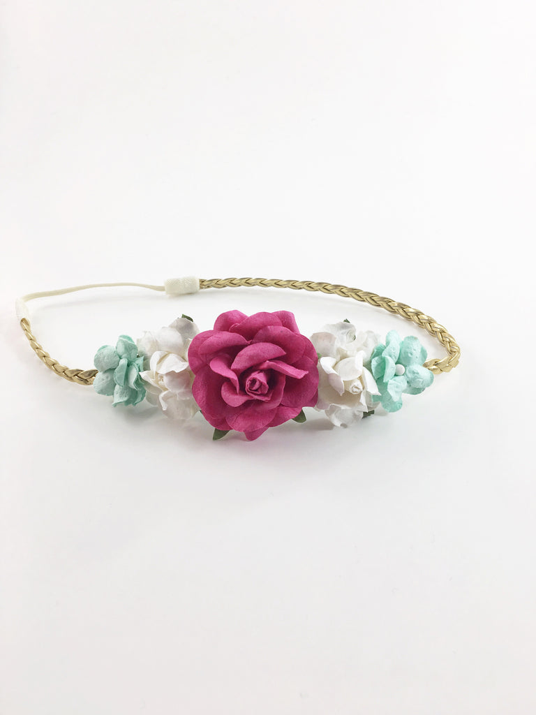 Valentina-Hot Pink, White and Mint on Gold Braided Headband