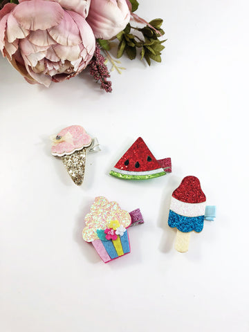 Glitter Clips-Ice Cream, Popsicle, Watermelon, Cupcake