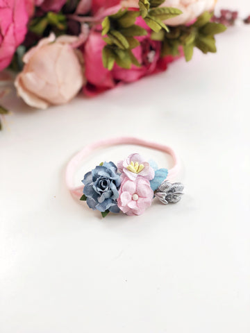 Francesca - blue, pink and lavender flower Headband