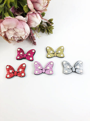 Glitter Clips- Minnie Bows