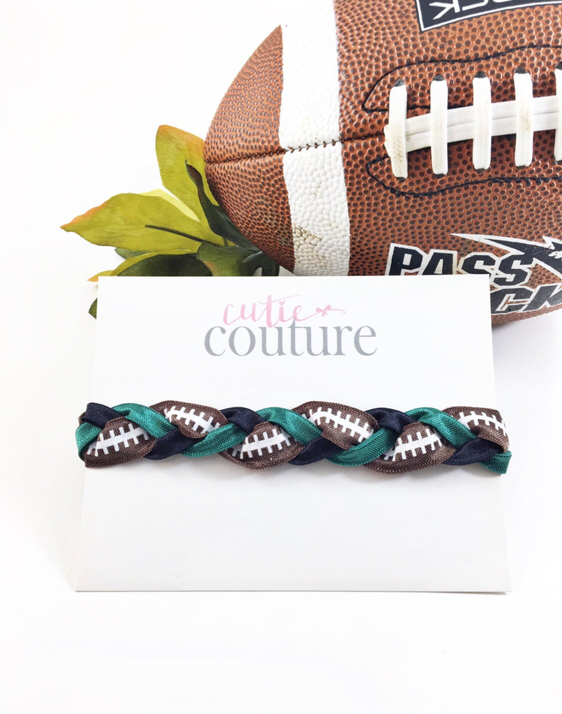 Super Bowl Headbands- Football Lace Braided Headbands-Eagles VS Patriots