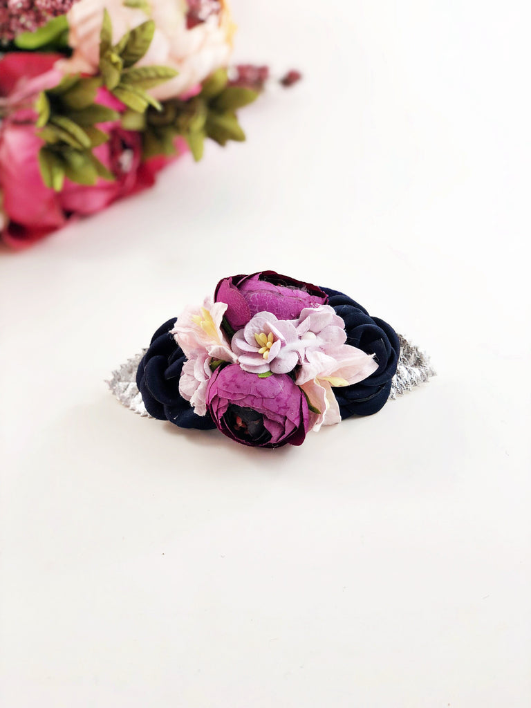 Francesca - Plum, Pink, lavender and navy flower Headband