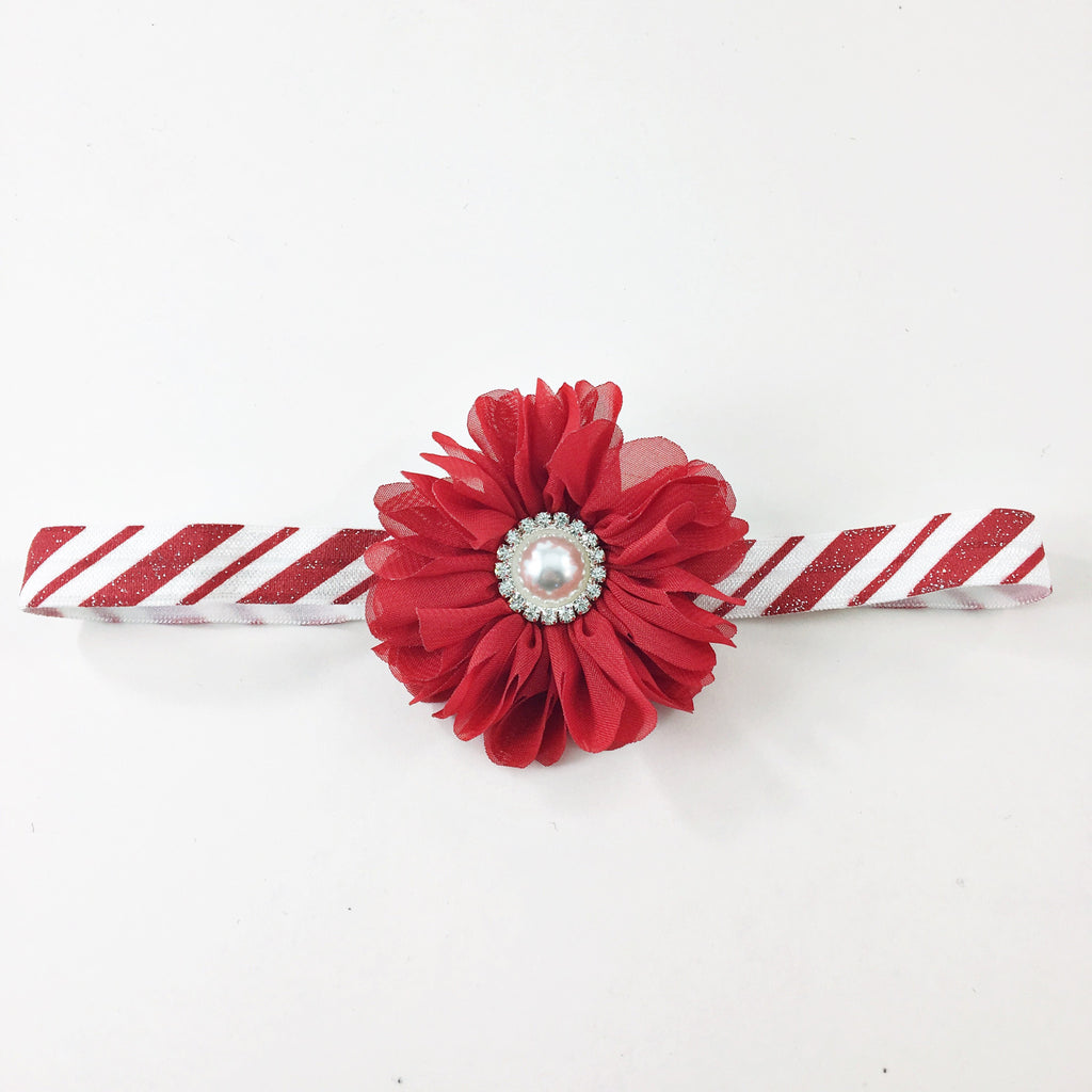 Luciana- red flower on candy cane elastic