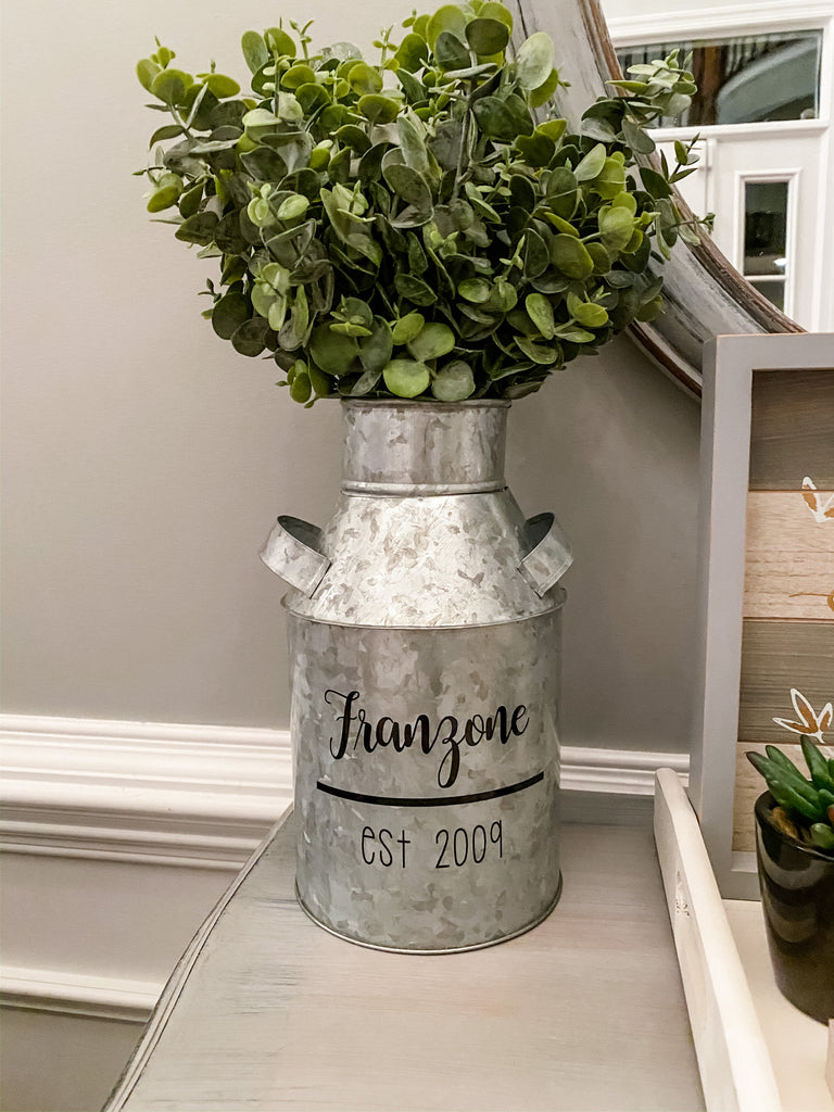 Farmhouse Galvanized Milk Can