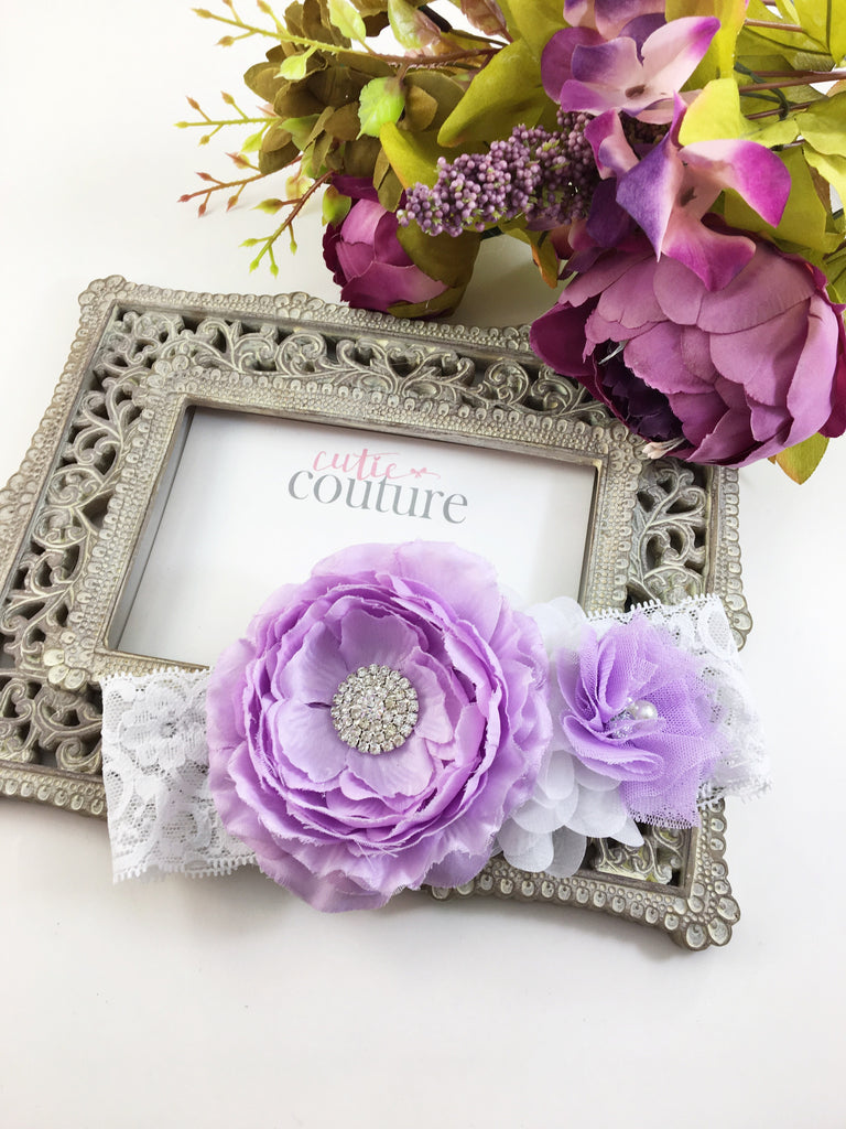 Rosanna- Lavender and white Headband