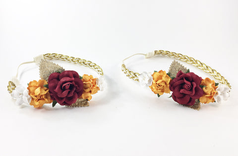 Mommy and Me- Cranberry, Orange and Cream Flowers on Gold Braided Headband